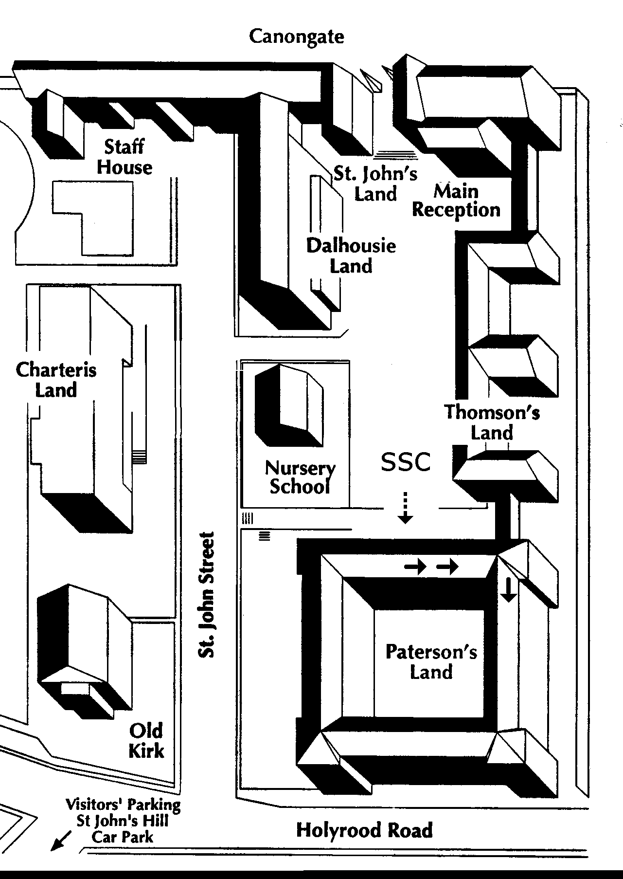 image shows map of SSC within Holyrood Campus